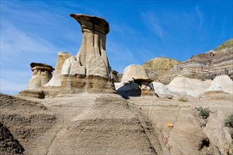 Hoodoos, geological formations created by erosion, in the Badlands near Drumheller, Alberta, Canada.