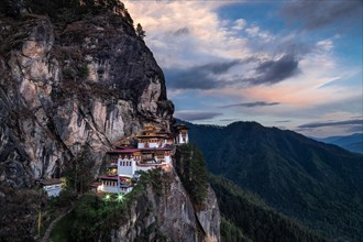 The famous Tiger's Nest monastery of Paro Taktsang at sunset in Bhutan