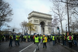 Paris, France - 8 December 2018: Yellow Vests (Gilets jaunes) protests against living costs and rising oil prices