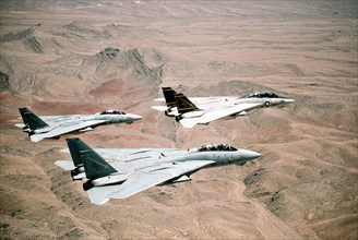 A US Navy Fighter Squadron of F-14A Tomcat fighter aircraft fly in formation over the desert during Operation Desert Storm February 7, 1991 in Kuwait.