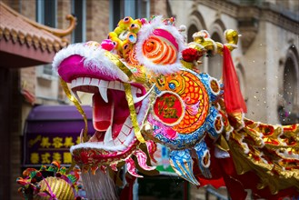 Traditional Chinese Dragon parades at the Lunar New Year Festival in Chinatown.
