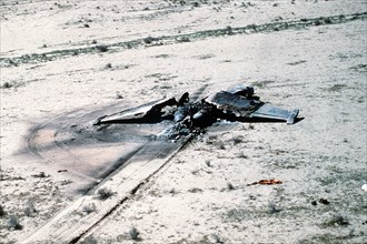 A view of an Iraqi Su-25 fighter aircraft destroyed in a Coalition attack during Operation Desert Storm. Iraqi Su-25 - Gulf War 1991