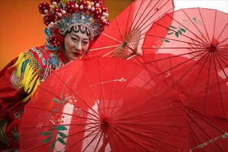 A reconstruction of the Chinese festive carnival of the chinese lunar new year in center of Mosco city, Russia
