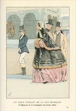 Un point élégant de la rue Richelieu, la magasin de la compagnie des Indes, 1854