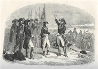 Bonaparte et Kléber avec les drapeaux des victoires d'Aboukir, du Thabor et du Caire