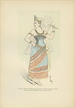 """Costume de Sélika, de """"L'Africaine"""" porté par Mme la baronne de Poilly en l'une des repérentations de Compiègne"""
