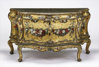 Commode; Venice, Veneto, Italy; about 1745 - 1750; Painted, gilt, and silvered oak; 81.6 × 147 × 62.6 cm