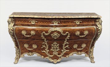 Commode; Etienne Doirat, French, about 1675 - 1732, Paris, France; about 1725 - 1730; Oak and fir veneered with kingwood