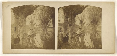 Boy at river with pole, bearded man with beret on riverbank; British; about 1860; Albumen silver print