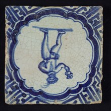 Figure tile, blue with standing man with beret and plume, with bird and jug in the hand, scalloped frame with braces, corner
