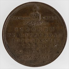 A. Bemme, Medal on Erasmus, medallions bronze bronze, minted, bust Erasmus with beret to the right, DESIDERIUS ERASMUS