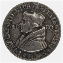 after:: Quinten Massijs, Terminus medal at Erasmus, penning footage silver, hand-painted, left accustomed bust of Erasmus