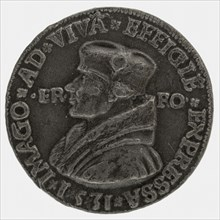 after:: Quinten Massijs, Terminus medal at Erasmus, medallion medals lead metal, hand-painted, left accustomed bust of Erasmus