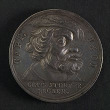 Medal on Claus Störtzenbecher, Hamburg, penning footage silver, to the right accustomed bust with beret of the pirate Claus