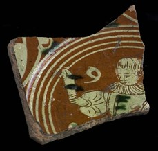 Bottom fragment of Werra plate, mirror-decorated lady with cup In hand, pale yellow and green glaze, plate crockery holder soil