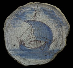 Fragment faience plate with image ship, blue and purple on white ground, plate dish crockery holder fragment earthenware
