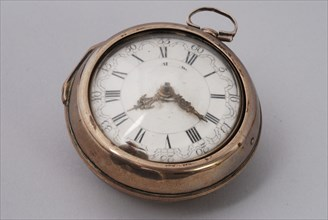 Samuel Ruel, Pocket watch with enamel dial and undecorated silver exterior, pocket watch watch movement measuring instrument