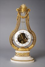 Jean-Simon Bourdier, died 1839, Clock in which the timepiece forms the weight of the pendulum, on an oval white marble base