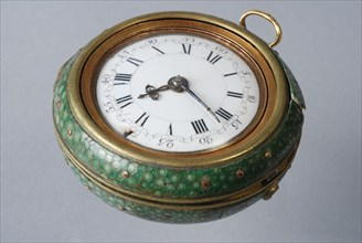 Cornelis Uyterweer, Pocket watch with protective cover of green roggeleer in golden exterior with representation, Judgment