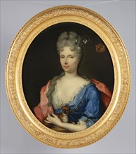 Portrait of Catharina Margaretha Beck (? -1737), portrait painting visual material linen oil painting, Oval portrait of woman