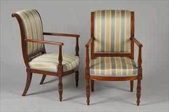 Paire de fauteuils en acajou,  fin de la période Consulat