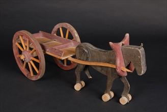 Jouet : charrette de bois avec cheval