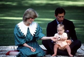 Le Prince Charles, la Princesse Diana et leur fils William, 1983