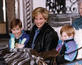 Princesse Diana avec ses deux fils