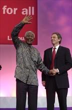 Nelson Mandela avec Tony Blair
