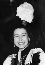 La reine Elisabeth II lors de son investiture dans l'Ordre du Chardon à Edimbourg