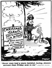 Caricature sur l'arme atomique et les USA