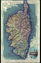 Napoléon 1er. Carte de la Corse. Ajaccio
