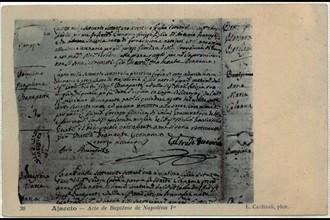 Ajaccio. Acte de Baptême de Napoléon 1er