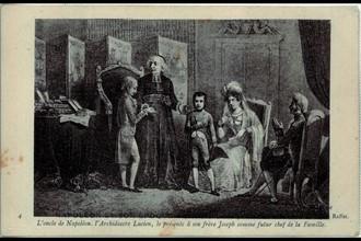 Ajaccio. L'oncle de Napoléon le présente à son frère comme le futur chef de famille.