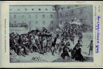 Bonaparte à l'école de Brienne. Bataille de boules de neige en deux camps.