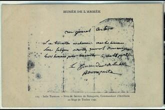 Siège de Toulon. Note de service de Bonaparte, commandant d'artillerie.