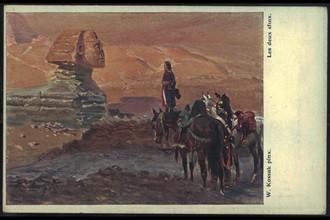 Napoléon Bonaparte devant le Sphinx en Egypte.