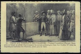 Napoléon Bonaparte visite les tombeaux des pyramides.