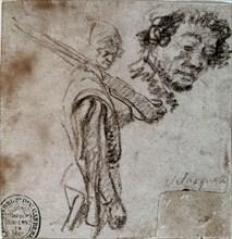 Vélasquez, Dessin d'un soldat avec l'arme à l'épaule et étude d'un visage