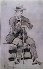 Sorolla, Homme assis avec chapeau et canne