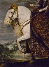 Vélasquez (et atelier de), Portrait équestre de la Reine Isabelle de Bourbon (détail)