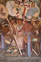 Rivera, Marché de Tlatelolco – Femme et soldats