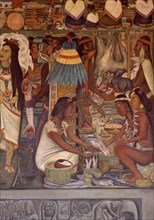 Rivera, Marché de Tlatelolco – Indiens confectionnant des ornements