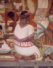 Rivera, Marché de Tlatelolco – Indienne cousant