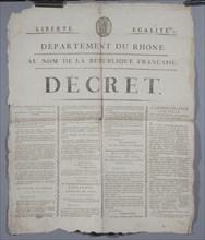 Décret au nom de la République Française, du coup d'Etat du 18 Brumaire