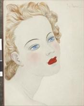 """Georges Lepape, """"Visage aux yeux bleus"""""""