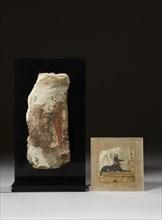 Deux toiles de momies peintes d'Anubis et du fils d'Horus Québésénouf