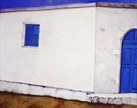 Bâche peinte. Maison blanche et bleue