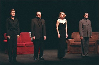 "02/27/2002. Actor-director Robert Hossein stars in Jean-Paul Sartre's ""Huis Clos"" with Natacha Amal and Melanie Page."