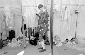07/11/2002. Fall winter 2002-03 collections. The backstage of Courreges's fashion show
